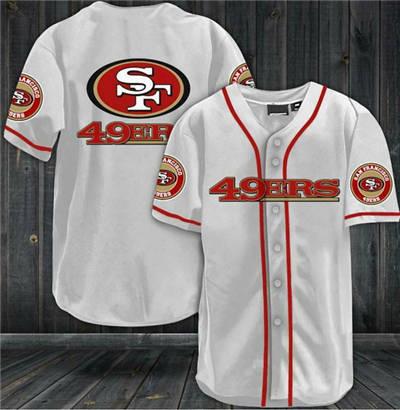 Men's San Francisco 49ers White Baseball Stitched Jersey Shirt