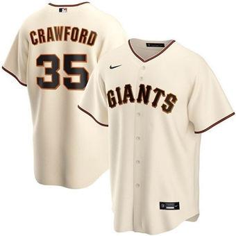 Men's San Francisco Giants #35 Brandon Crawford Cream Cool Base Stitched Baseball Jersey