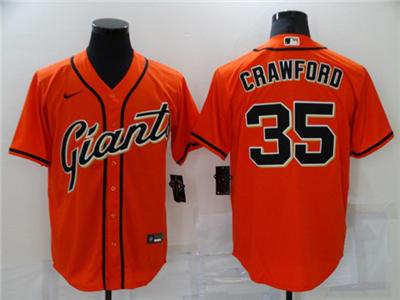 Men's San Francisco Giants #35 Brandon Crawford Orange Cool Base Stitched Baseball Jersey