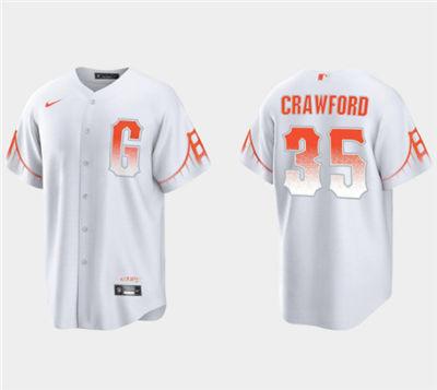 Men's San Francisco Giants #35 Brandon Crawford White City Connect Cool Base Stitched Baseball Jersey