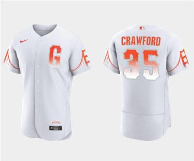 Men's San Francisco Giants #35 Brandon Crawford White City Connect Flex Base Stitched Baseball Jersey