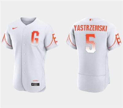 Men's San Francisco Giants #5 Mike Yastrzemski White City Connect Flex Base Stitched Baseball Jersey