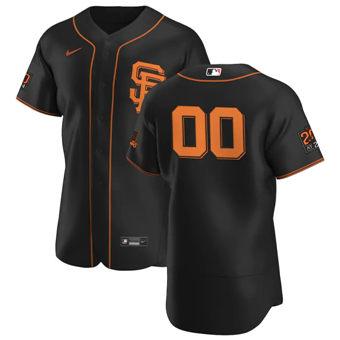 Men's San Francisco Giants Custom Black Alternate 2020 Authentic 20 at 24 Patch Player Baseball Jersey