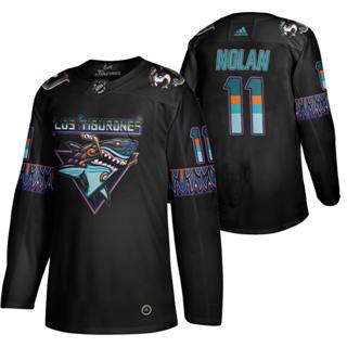 Men's San Jose Sharks #11 Owen Nolan 2020 Los Tiburones Limited Hockey Jersey Black