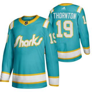 Men's San Jose Sharks #19 Joe Thornton 2020 Throwback Authentic Player Hockey Jersey Teal