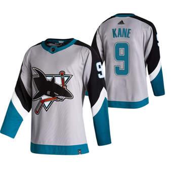 Men's San Jose Sharks #9 Evander Kane Grey 2020-21 Reverse Retro Alternate Hockey Jersey