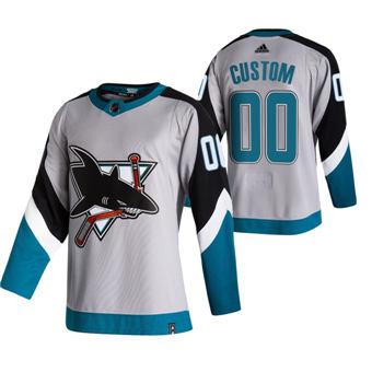 Men's San Jose Sharks Custom Grey 2020-21 Reverse Retro Alternate Hockey Jersey