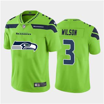 Men's Seahawks #3 Russell Wilson Green Football Team Big Logo Fashion Vapor Limited Jersey