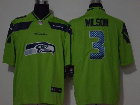 Men's Seahawks #3 Russell Wilson Green Football Team Big Logo Fashion Vapor Untouchable Limited Jersey
