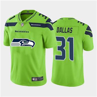 Men's Seahawks #31 DeeJay Dallas Green Football Team Big Logo Fashion Vapor Limited Jersey