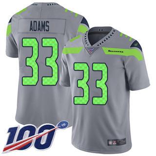Men's Seahawks #33 Jamal Adams Gray Stitched Football Limited Inverted Legend 100th Season Jersey