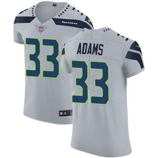 Men's Seahawks #33 Jamal Adams Grey Alternate Stitched Football New Elite Jersey