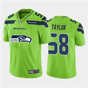 Men's Seahawks #58 Darrell Taylor Green Football Team Big Logo Fashion Vapor Limited Jersey