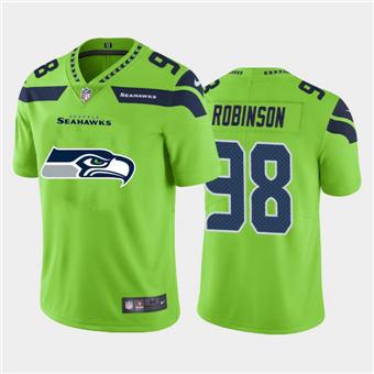 Men's Seahawks #98 Alton Robinson Green Football Team Big Logo Fashion Vapor Limited Jersey