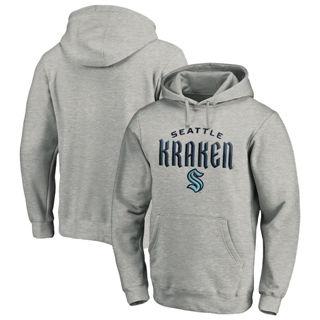 Men's Seattle Kraken Team Lockup Pullover Hoodie Heather Gray
