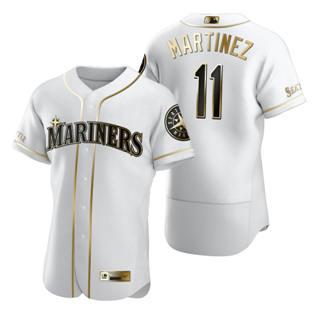 Men's Seattle Mariners #11 Edgar Martinez White 2020 Authentic Golden Edition Baseball Jersey