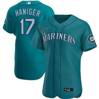 Men's Seattle Mariners #17 Mitch Haniger 2020 Aqua Alternate Authentic Player Baseball Jersey