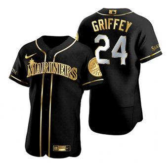 Men's Seattle Mariners #24 Ken Griffey Black Gold Edition Flex Base Stitched Baseball Jersey