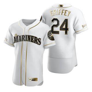 Men's Seattle Mariners #24 Ken Griffey Jr. White 2020 Authentic Golden Edition Baseball Jersey