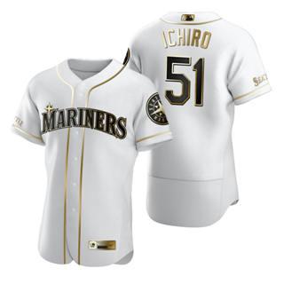 Men's Seattle Mariners #51 Ichiro Suzuki White 2020 Authentic Golden Edition Baseball Jersey