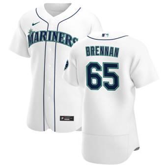 Men's Seattle Mariners #65 Brandon Brennan White Home 2020 Authentic Player Baseball Jersey