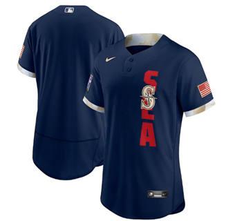 Men's Seattle Mariners Blank 2021 Navy All-Star Flex Base Stitched Baseball Jersey