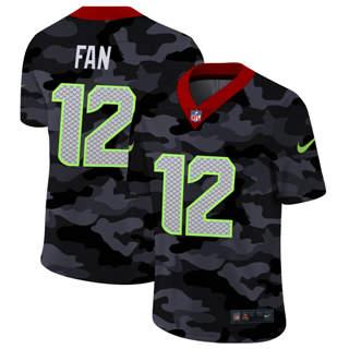 Men's Seattle Seahawks #12 Fan 2020 Black CAMO Vapor Untouchable Limited Stitched Football Jersey