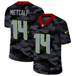 Men's Seattle Seahawks #14 DK Metcalf 2020 Black CAMO Vapor Untouchable Limited Stitched Football Jersey