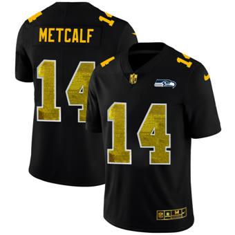 Men's Seattle Seahawks #14 DK Metcalf Black Golden Sequin Vapor Limited Football Jersey
