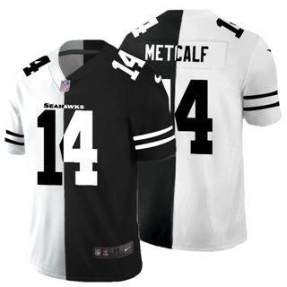 Men's Seattle Seahawks #14 DK Metcalf Black V White Peace Split Vapor Untouchable Limited Football Jersey
