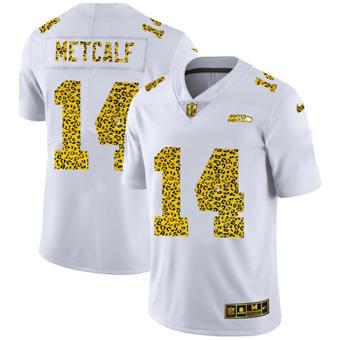 Men's Seattle Seahawks #14 DK Metcalf Flocked Leopard Print Vapor Limited Football Jersey White