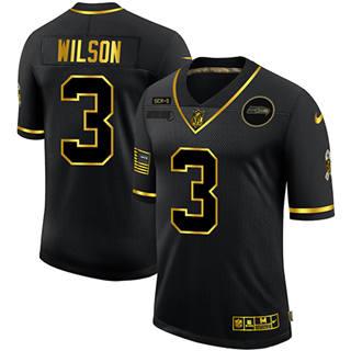 Men's Seattle Seahawks #3 Russell Wilson 2020 Salute To Service Black Golden Limited Football Jersey