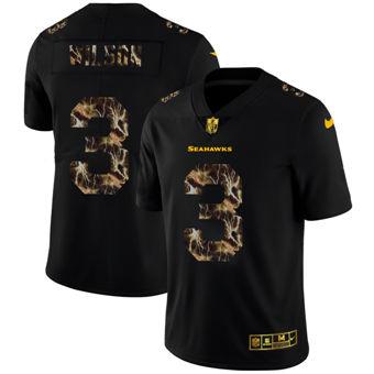 Men's Seattle Seahawks #3 Russell Wilson Black Flocked Lightning Vapor Limited Football Jersey