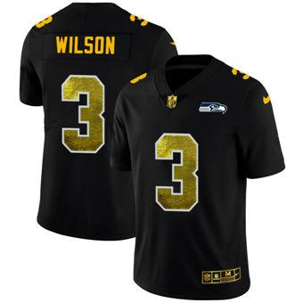 Men's Seattle Seahawks #3 Russell Wilson Black Golden Sequin Vapor Limited Football Jersey