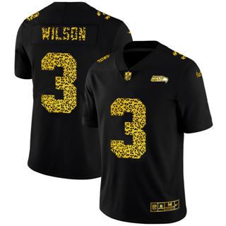 Men's Seattle Seahawks #3 Russell Wilson Black Leopard Print Fashion Vapor Limited Football Jersey