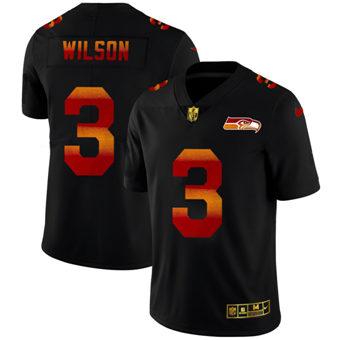 Men's Seattle Seahawks #3 Russell Wilson Black Red Orange Stripe Vapor Limited Football Jersey