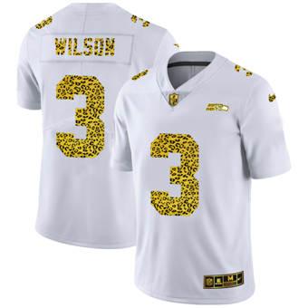Men's Seattle Seahawks #3 Russell Wilson Flocked Leopard Print Vapor Limited Football Jersey White