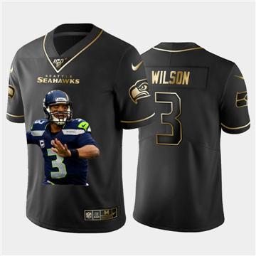 Men's Seattle Seahawks #3 Russell Wilson Team Hero 1 Vapor Limited Football 100 Jersey Black Golden