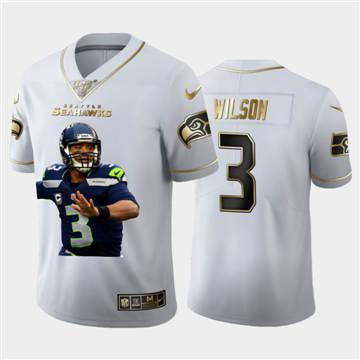 Men's Seattle Seahawks #3 Russell Wilson Team Hero 1 Vapor Limited Football 100 Jersey White Golden