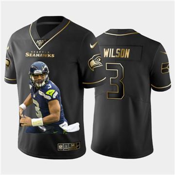 Men's Seattle Seahawks #3 Russell Wilson Team Hero 2 Vapor Limited Football 100 Jersey Black Golden