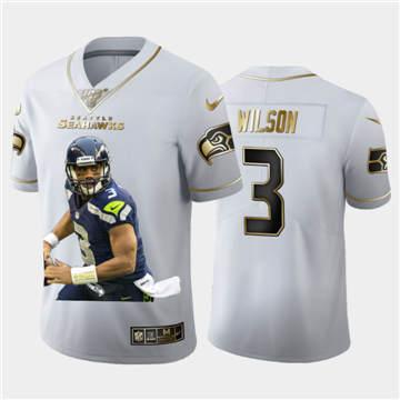 Men's Seattle Seahawks #3 Russell Wilson Team Hero 2 Vapor Limited Football 100 Jersey White Golden