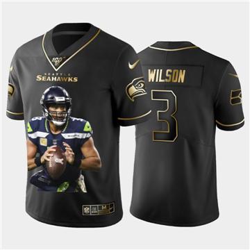 Men's Seattle Seahawks #3 Russell Wilson Team Hero 3 Vapor Limited Football 100 Jersey Black Golden