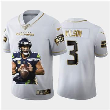 Men's Seattle Seahawks #3 Russell Wilson Team Hero 3 Vapor Limited Football 100 Jersey White Golden