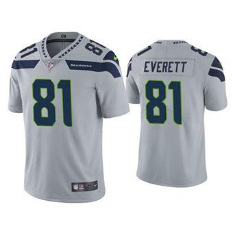 Men's Seattle Seahawks #81 Gerald Everett Gray Vapor Untouchable Limited Stitched Jersey