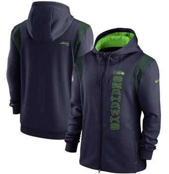 Men's Seattle Seahawks 2021 Navy Sideline Team Performance Full-Zip Hoodie