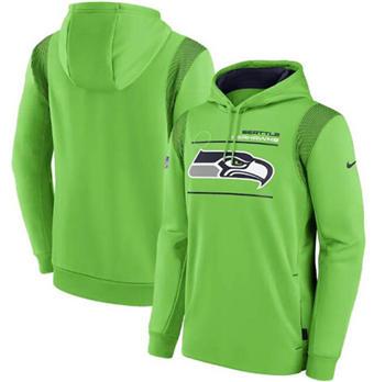 Men's Seattle Seahawks 2021 Neon Green Sideline Logo Performance Pullover Hoodie