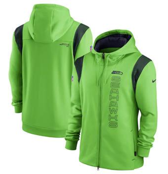 Men's Seattle Seahawks 2021 Neon Green Sideline Team Performance Full-Zip Hoodie
