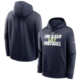 Men's Seattle Seahawks College Navy Fan Gear Local Club Pullover Hoodie