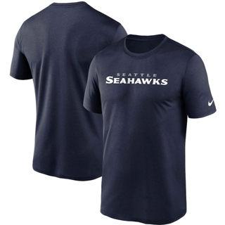 Men's Seattle Seahawks Fan Gear Legend Wordmark Performance T-Shirt College Navy