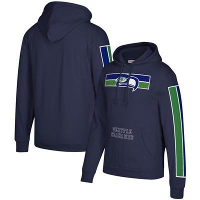 Men's Seattle Seahawks Mitchell & Ness Three Stripe Pullover Hoodie - College Navy